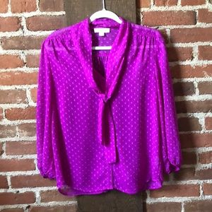 Purple Forever 21 blouse with tie neck